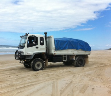 Aust-Care-4wd-Tipper-truck-on-sand